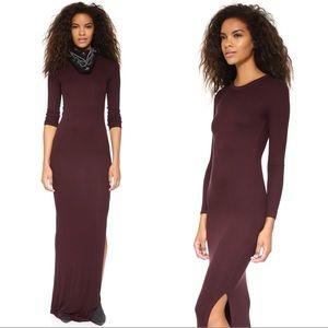 {Enza Costa} NEW Ribbed Silk Long Sleeve Slit Maxi
